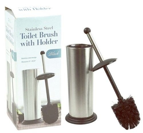 DINY Home Collection Stainless Steel Toilet Brush With Holder and Drip Cup Black Trim Black Brush (Holder Hide Laundry)