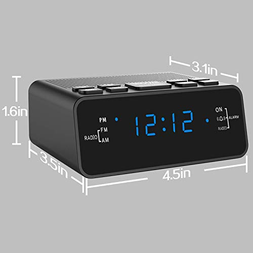 Alarm Clock, Alarm Clocks for Bedrooms with AM/FM Radio,Sleep Timer, Dimmer, Snooze, Battery Backup