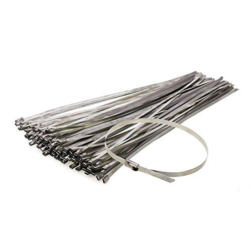 Lieomo SS304 Stainless Steel Zip Ties Exhaust Wrap Coated Locking Cable Zip Ties, 100pcs 4.6300mm Metal Cable Ties by Lieomo