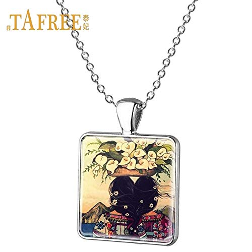 Davitu TAFREE Sister Friend Necklace Girl Picture Pendant Necklace Best Friends Forever Square Necklace for Girl Jewelry ST54 - (Metal Color: ST55, Length: 55cm)