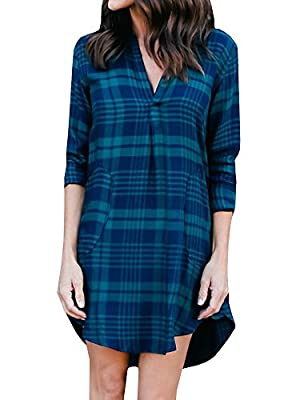 Imily Bela Women's Plaid Blouse Asymmetric Dress Long Sleeve Plunge Tunic Shirt