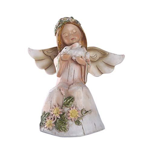 LY-Home Miniature Fairy Figurines Resin Fairy Angel Sitting Fairy Girl with Bunny Statue Decor
