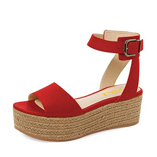 Toe FSJ 15 Open Sandals Wedges Espadrilles White Platform Women Black Size Shoes Red 4 UwIFrUnA