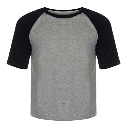 Ls Twill Work Shirt (Tenworld Men's Casual Short Sleeve Baseball Tshirt Raglan Jersey Shirt top (US L/42, Black))