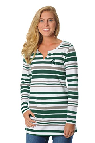 NCAA Michigan State Spartans Women's Striped Tunic Fleece Top, Large, Green/Grey/White -