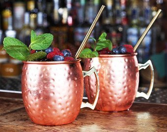 DreamKraft Hamme Copper Moscow Mule Mug Handmade Of Copper With Brass Handle 550 ML Gold by DreamKraft (Image #2)