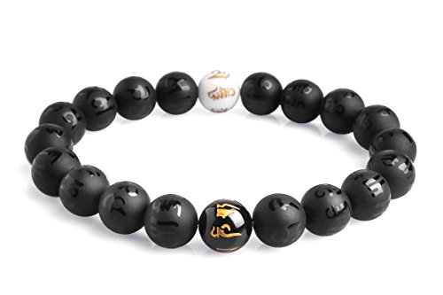 Bella.Vida Yin Yang Balance Bracelet Series Men Natural Matte Black Agate Crystal Energy Beads Yoga Handmade Meditation Bracelet 8(black agate)
