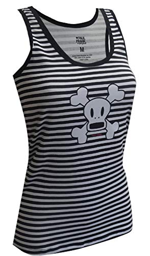 MJC Women's Paul Frank Skurvy The Skeleton Striped BlK and Wht Racer Tank (Large) - Tank Paul Frank Clothing