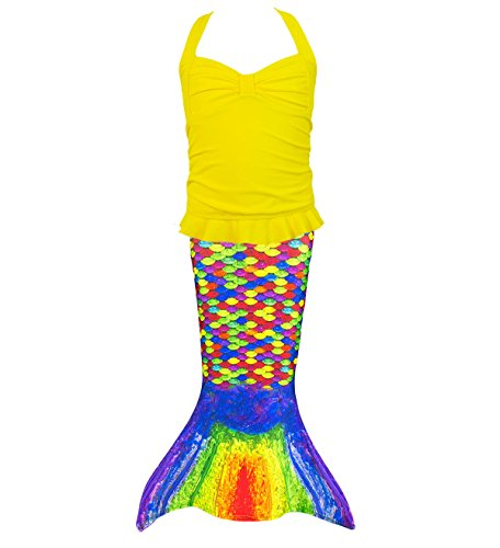 [Fin Fun Toddler Mermaid Costume - Rainbow Reef Tail with Yellow Tankini Top - Size 5T] (Little Mermaid Sister Costumes)