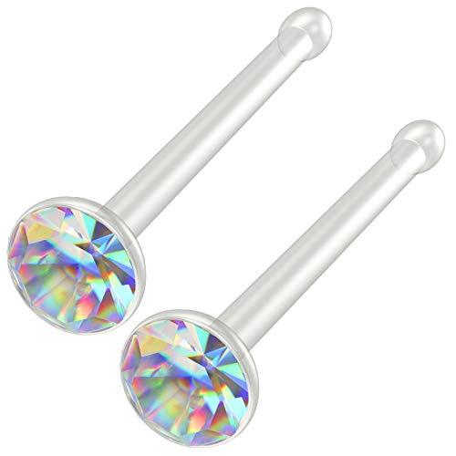 Bling Piercing 2pc 20g Bioflex Nose Bone Bioplast 1mm Micro Flat Flexible Bendable Straight Nostril Aurora Borealis