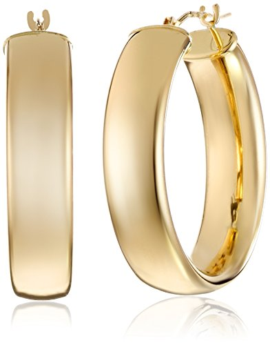 14k Yellow Gold Polished Wedding Band Hoop Earrings by Amazon Collection