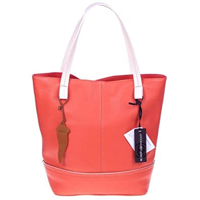 9a4aed7c13 Amazon.com  ROBERTA GANDOLFI Italian Made Salmon Orange Pebbled Leather  Tote Handbag  Shoes