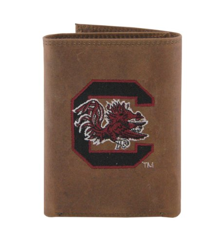 NCAA South Carolina Gamecocks Zep-Pro Crazyhorse Leather Trifold Embroidered Wallet, Light Brown