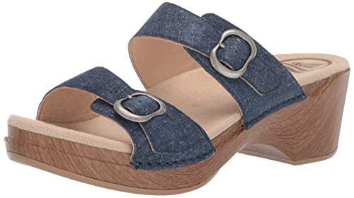 Dansko Women's Sophie Slide Sandal, Denim Leather, 39 M EU (8.5-9 US)