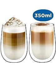 Glastal Doppelwandige Latte Macchiato Espressotassen Espresso Glaser Set Thermoglas Kaffeeglas Trinkgläser 2-teiliges 120-350ml (Volle Kapazität)