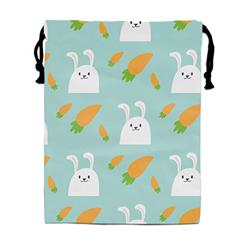 Portable Travel Easter Rabbit Character Bunny Pattern Storage Traveling Tote Shoe Bags with Drawstring 11.8 × -