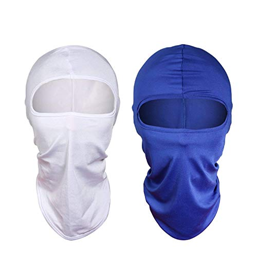 Balaclava Ski Face Mask for Women Men Windproof Motorcycle Tactical Balaclava with Hood Moisture Wicking sun protection for fishing running skiing Cycling Hiking airsoft [2 Pack] (White+Blue)
