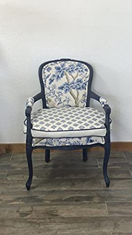 Louis XV French Style Blue Square Back Arm Chair | Scalamandre