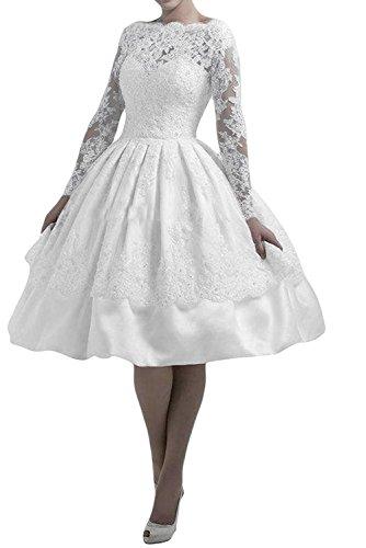 Marie Damen Langarm Brautmutterkleider La Kurz Weiß Abendkleider Knielang Spitze Partykleider Braut Blau ZpFOq