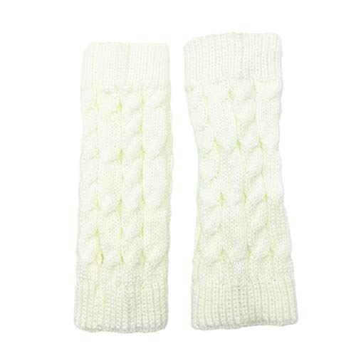 Fenfangxilas Fingerless Knitted Gloves Solid Color Crochet Thumb Hole Arm Warmer Women White