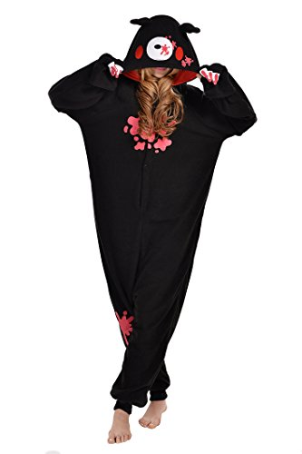 RECHASE Halloween Adult Pajamas SleepWear Animal Cosplay Costume (XL, Black Gloomy Bear)