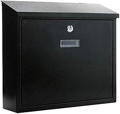 PrimeMatik - Buzón metálico para Cartas y Correo Postal de Color Negro 350x90x320mm