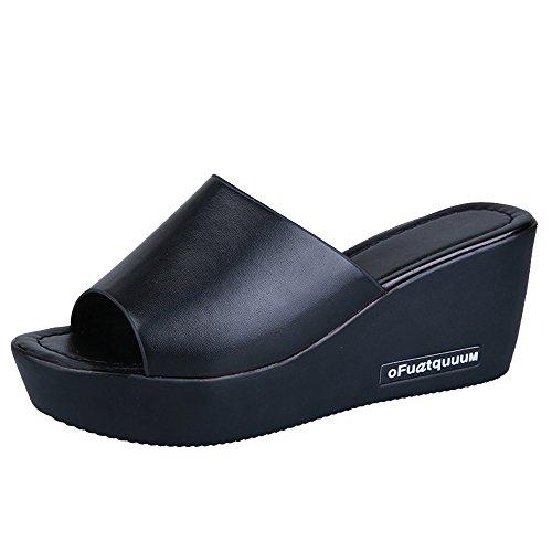 Primo Mens Snowboard - HOSOME Women Casual High Heels Sandals Fish Mouth Platform Slope Sandals Slippers Black