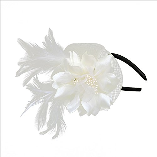 Auranso Derby Netting Feathers Big Flower Headband Party
