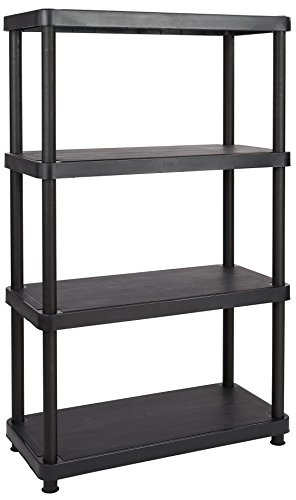 Solid Plastic Shelf (Keter 4-Shelf Heavy Duty Freestanding Shelving Unit Storage Rack, Black)