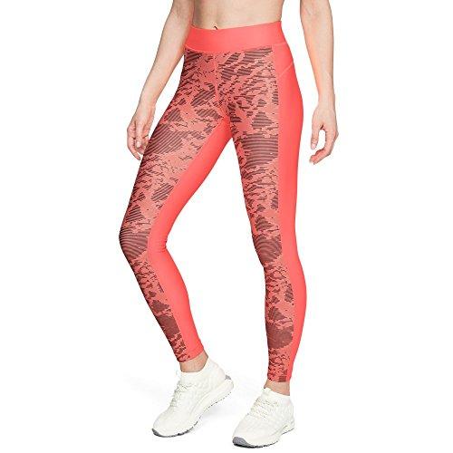 (Under Armour Women's HeatGear Armour Printed Legging, After Burn (877)/Metallic Silver, Large)