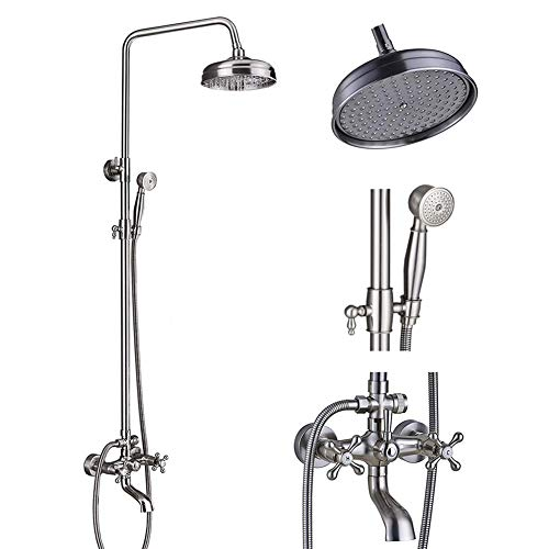 (Votamuta Brushed Nickel 8-Inch Rain Shower Faucet Set Wall Mount Bathtub Height Adjustable Shower Mixer Tap with Hand Sprayer)