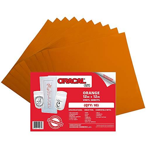 Oracal 651 Orange Adhesive Craft Vinyl for Cricut, Silhouette, Cameo ((10) Sheets)