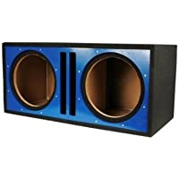 Absolute USA PDEB12BL Dual 12-Inch 3/4-Inch MDF Twin Port Subwoofer Enclosure with Blue High Gloss Face Board