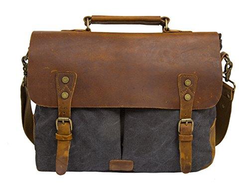 Ecosusi Herren Damen Leder Canvas Tasche Messenger Bags Handtasche Aktentasche schultertasche Umhängetasche