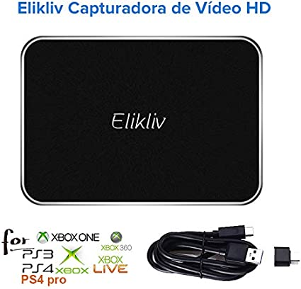Elikliv Capturadora de Vídeo HD, Game Capture USB 3,1 con una Resolución de 1080P60 con Entrada de Micrófono y Ultra Baja Latencia Compatible con PS4PRO XBOXONE Switch: Amazon.es: Electrónica