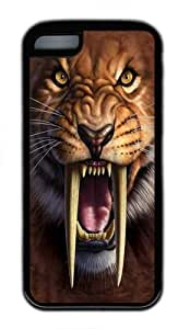 iPhone 5C Case, iPhone 5C Cases -Sabertooth Tiger TPU Silicone Rubber Case Cover for iPhone 5C Black