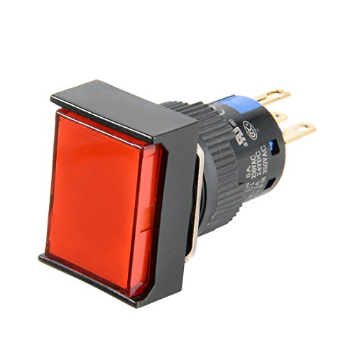 (Aexit AC 220V Control electrical 2mA SPDT 5 Pins Momentary Red Rect Head Push Button Switch Red Light)