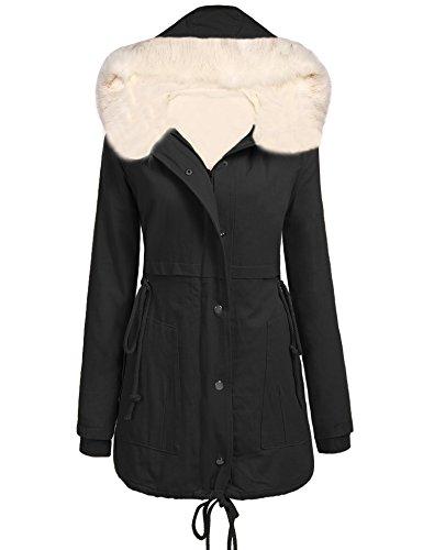 Corgy Womens Winter Parka Hooded Coat Fleece Lined Parkas With Two (Fleece Lined Coat)