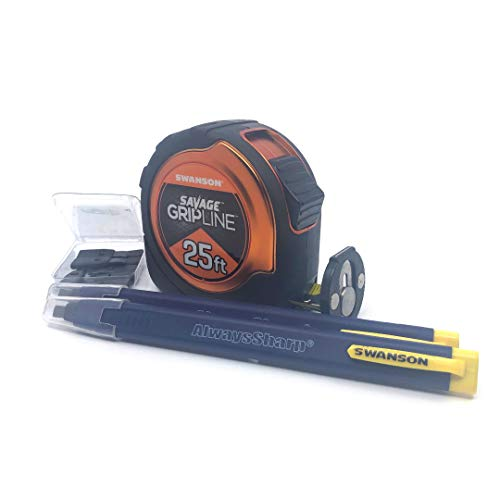 Swanson Tool Co Value Pack featuring a 25 Ft Gripline Tape Measure and a Mechanical Pencil with Replacement Tips