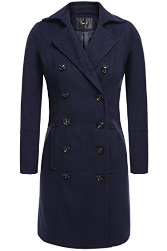 Etuoji Women Double Breasted Coat With Two Front Flap Pockets Wool Blend Overcoat (3 Colors,S-3XL)