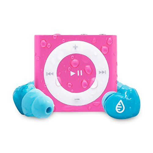 Waterfi Waterproof iPod Shuffle Swim Kit with SwimActive Waterproof Headphones, Durable Zip Case, Signature PlatinumX Waterproofed iPod and 2 Year Warranty (Pink)