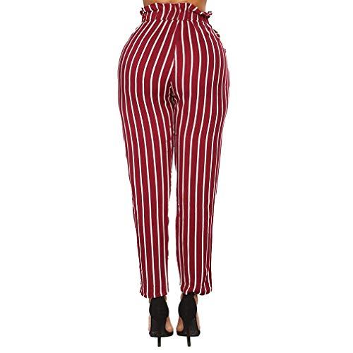Taille Tasche Inclusa Donna Eleganti Verticali Strisce Damigella Cravatta Stoffa Di Rossi Cintura Matita Trousers Pants Moda Primaverile Lunga A Anteriori Pantaloni Slim Fit Farfalla Nahen fTw6P