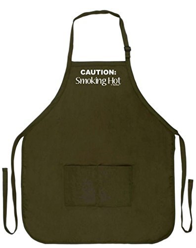 ThisWear Caution Smoking Hot Funny Apron Kitchen BBQ Barbecue Cooking Baking Two Pocket Apron Wife Husband Baker Cook Pastry Chef Culinary Arts Military Olive Green