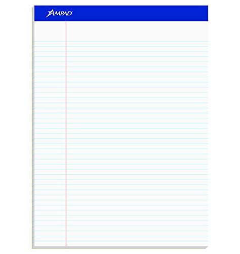 Perforated Pads - Ampad 20322 Perforated Writing Pad, 8 1/2 x 11 3/4, White, 50 Sheets (Pack of 12)