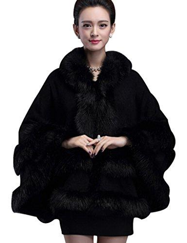 Aphratti Women's Faux Fox Fur Trim Hooded Knit Cape Cloak Coat One Size (Hooded Black Shearling Coat)