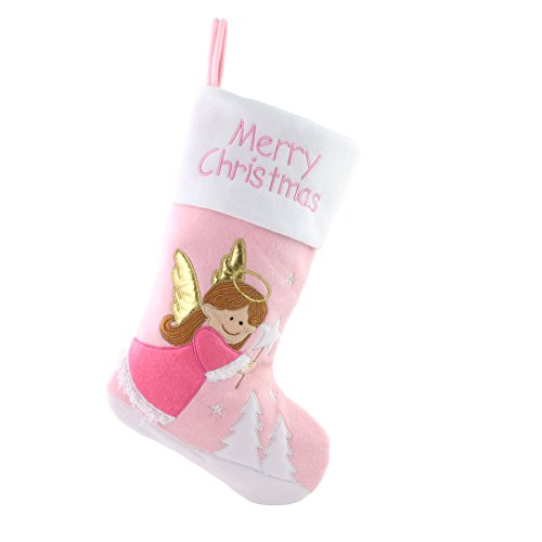 WEWILL 18'' Baby's 1st Pink Felt Christmas Stockings Angel Embroidered Xmas Stocking Gift Bag for Home Holiday Decoration, Pink ()