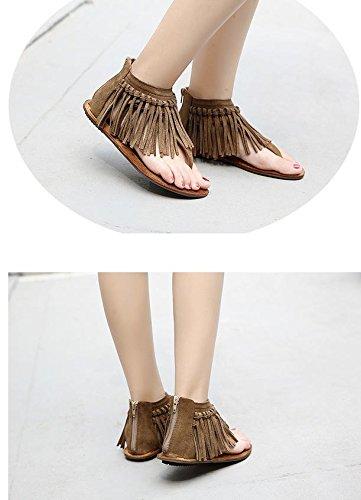 parte del los mujeres franjó de cremallera la sandalias La del las simples de inferior zapatos MZG pie plana retras las 1 de dedo xwR5vqqX