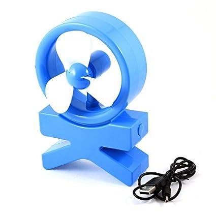 eDealMax plástico de escritorio Notebook 3 Flabellums Mini USB ventilador de refrigeración Azul Blanco