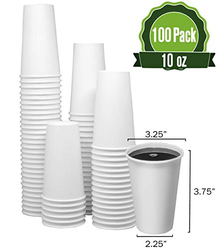 10oz Hot White Paper Coffee Cups (100 Cups) 10 Ounce Soup Cup