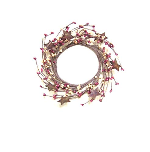 Berry Candle Rings Star - Burgundy & Old Gold Pip Berry Ring Wreath Rusty Stars Country Primitive Floral Décor